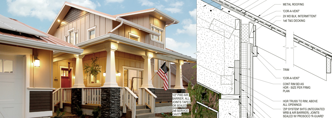Passive house with diagram